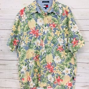 Tommy Hilfiger Floral Button Up Shirt Hawaiian L